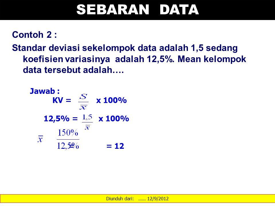 Diunduh dari: …… 12/9/2012 SEBARAN DATA Contoh 2 : Standar deviasi sekelompok data adalah 1,5 sedang koefisien variasinya adalah 12,5%. Mean kelompok