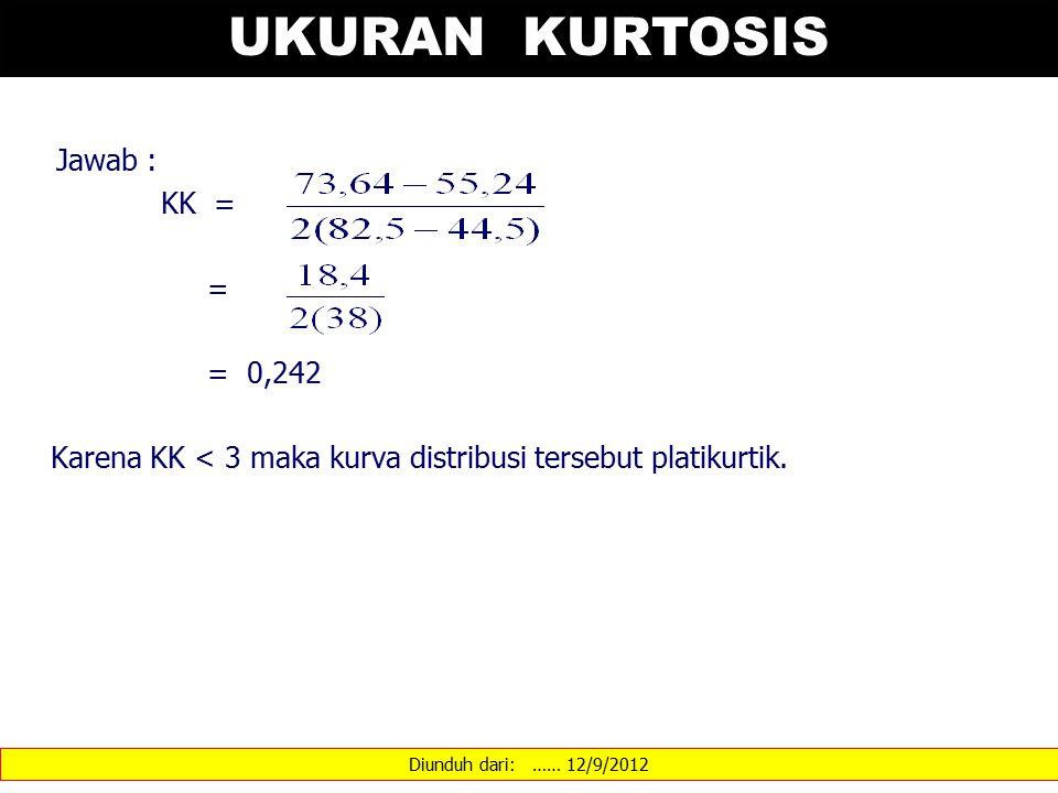 Diunduh dari: …… 12/9/2012 UKURAN KURTOSIS Jawab : KK = = = 0,242 Karena KK < 3 maka kurva distribusi tersebut platikurtik.