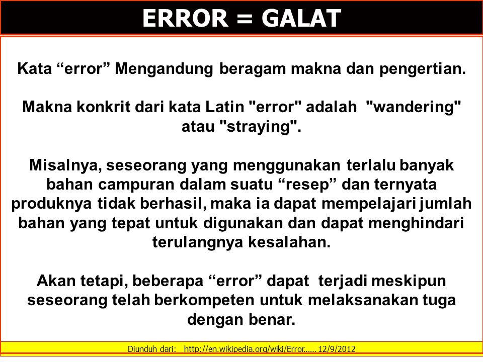 "Diunduh dari: http://en.wikipedia.org/wiki/Error…… 12/9/2012 ERROR = GALAT Kata ""error"" Mengandung beragam makna dan pengertian. Makna konkrit dari ka"