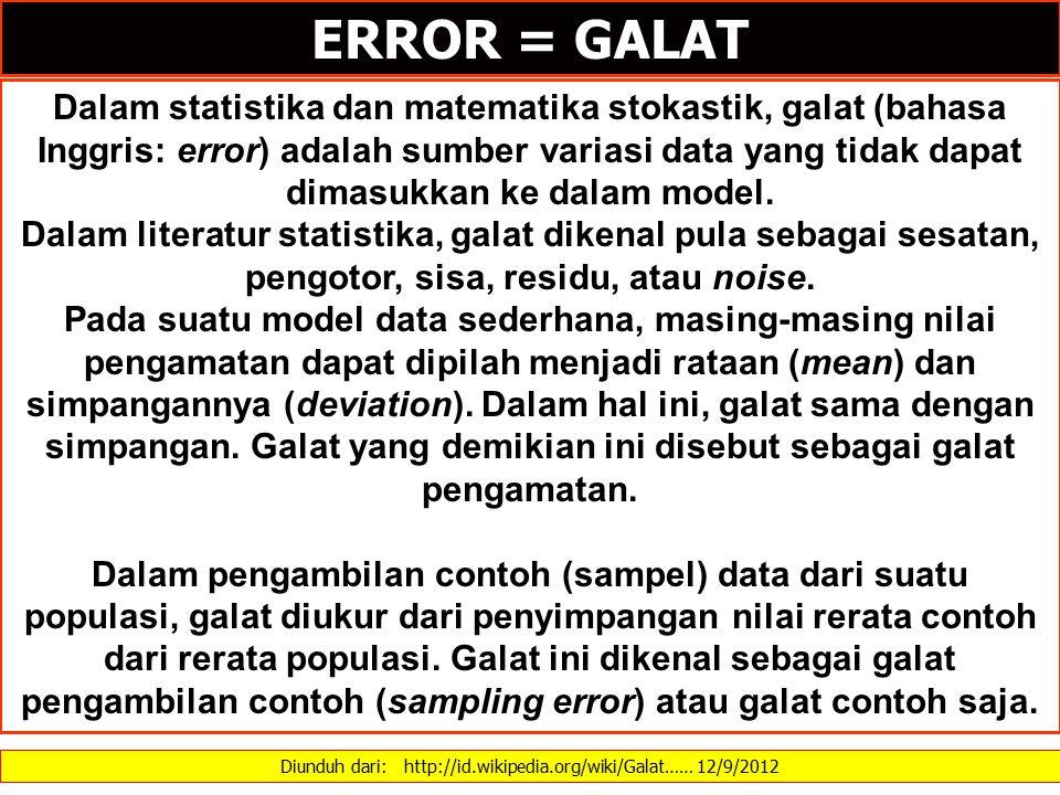 Diunduh dari: http://id.wikipedia.org/wiki/Galat…… 12/9/2012 Dalam statistika dan matematika stokastik, galat (bahasa Inggris: error) adalah sumber va