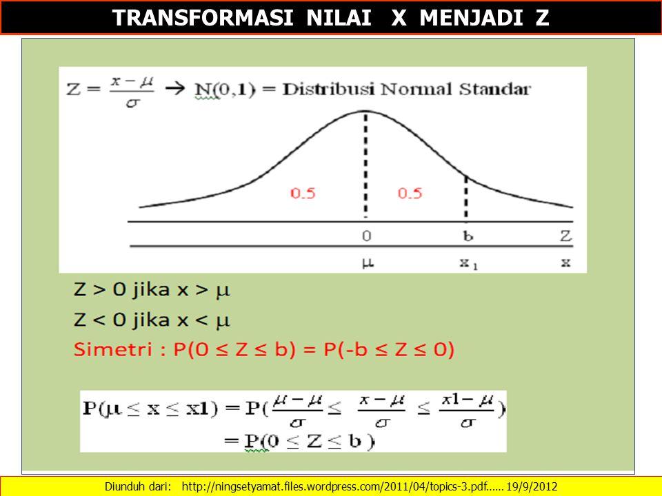 TRANSFORMASI NILAI X MENJADI Z Diunduh dari: http://ningsetyamat.files.wordpress.com/2011/04/topics-3.pdf…… 19/9/2012