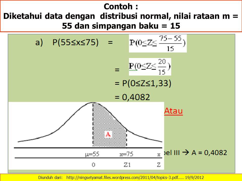 Contoh : Diketahui data dengan distribusi normal, nilai rataan m = 55 dan simpangan baku = 15 Diunduh dari: http://ningsetyamat.files.wordpress.com/20