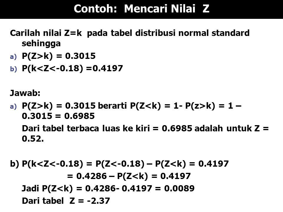 Contoh: Mencari Nilai Z Carilah nilai Z=k pada tabel distribusi normal standard sehingga a) P(Z>k) = 0.3015 b) P(k<Z<-0.18) =0.4197 Jawab: a) P(Z>k) = 0.3015 berarti P(Z k) = 1 – 0.3015 = 0.6985 Dari tabel terbaca luas ke kiri = 0.6985 adalah untuk Z = 0.52.