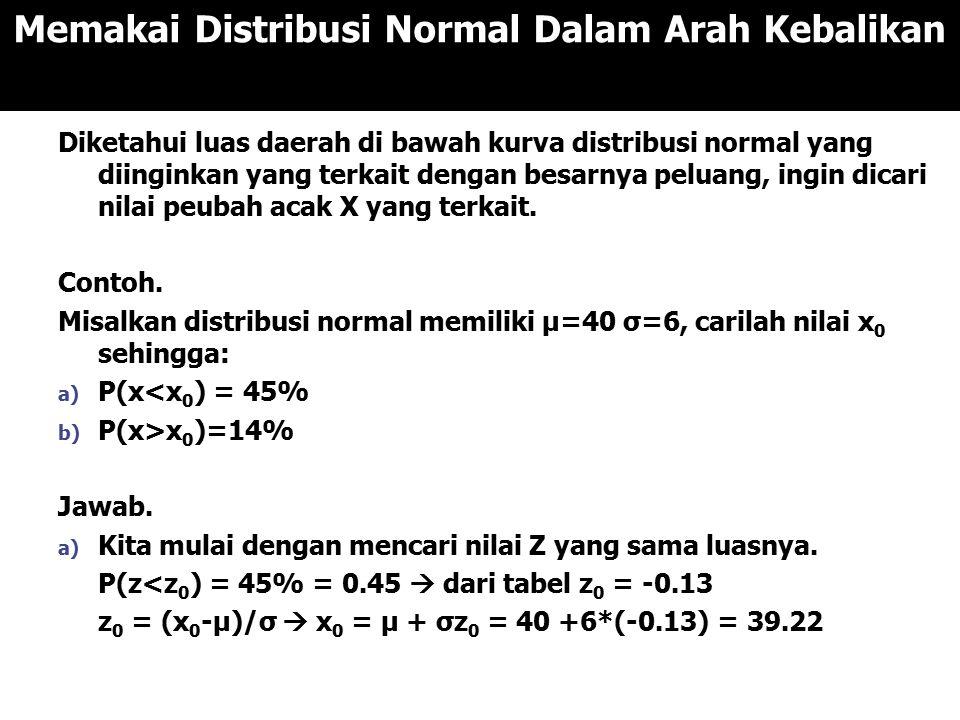 Memakai Distribusi Normal Dalam Arah Kebalikan Diketahui luas daerah di bawah kurva distribusi normal yang diinginkan yang terkait dengan besarnya peluang, ingin dicari nilai peubah acak X yang terkait.