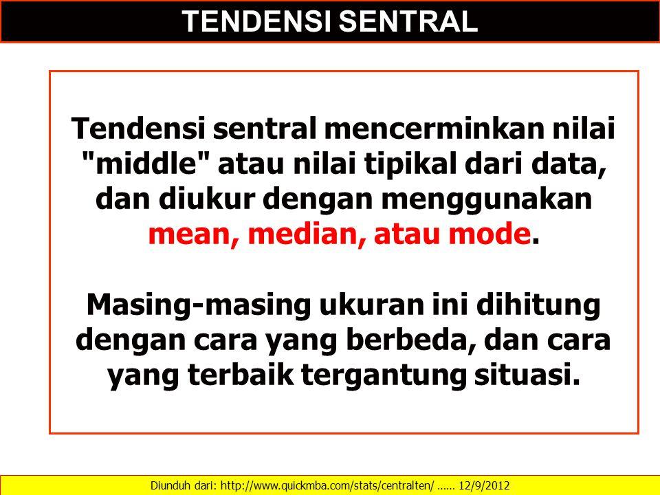 Diunduh dari: http://www.quickmba.com/stats/centralten/ …… 12/9/2012 TENDENSI SENTRAL Tendensi sentral mencerminkan nilai middle atau nilai tipikal dari data, dan diukur dengan menggunakan mean, median, atau mode.