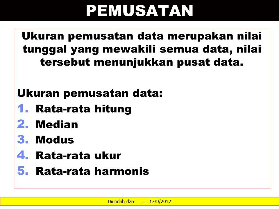 PEMUSATAN Ukuran pemusatan data merupakan nilai tunggal yang mewakili semua data, nilai tersebut menunjukkan pusat data. Ukuran pemusatan data: 1. Rat
