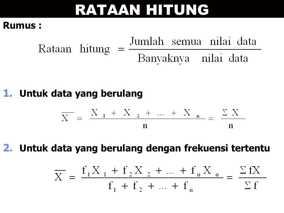 RATAAN HITUNG Rumus : 1. Untuk data yang berulang 2. Untuk data yang berulang dengan frekuensi tertentu