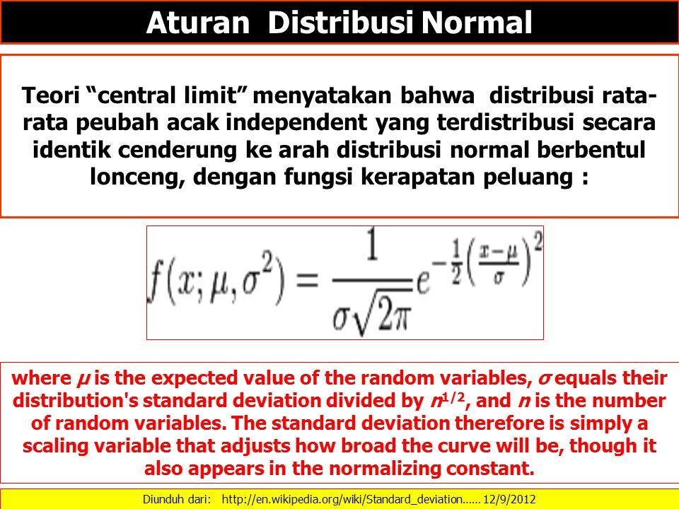 """Diunduh dari: http://en.wikipedia.org/wiki/Standard_deviation…… 12/9/2012 Aturan Distribusi Normal Teori """"central limit"""" menyatakan bahwa distribusi r"""