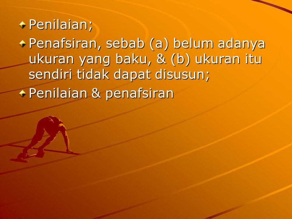Penilaian; Penafsiran, sebab (a) belum adanya ukuran yang baku, & (b) ukuran itu sendiri tidak dapat disusun; Penilaian & penafsiran
