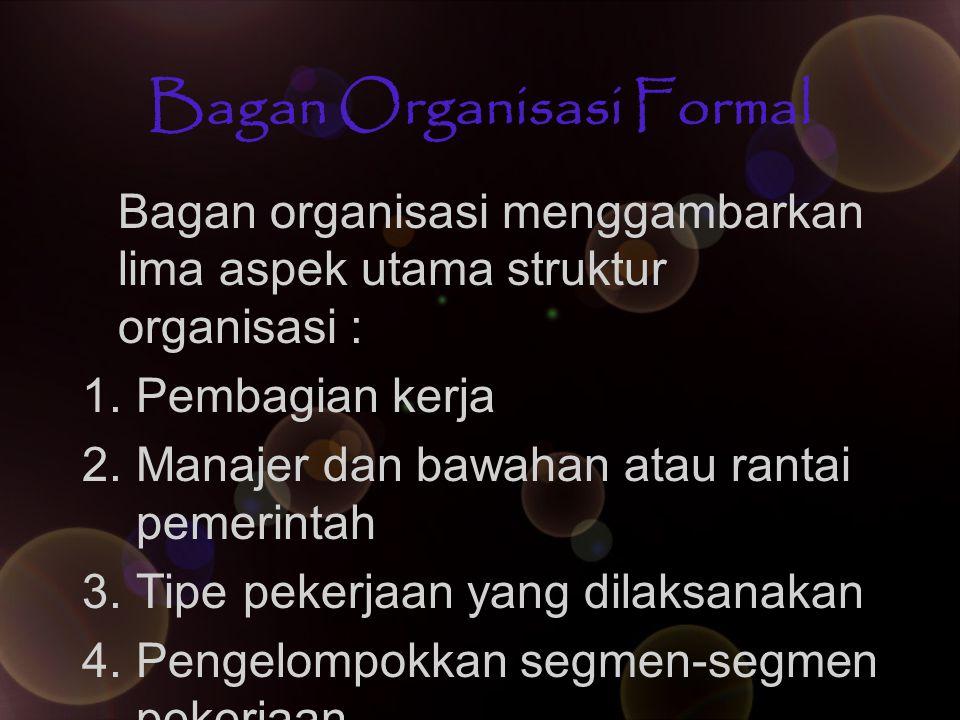 Bagan Organisasi Formal Bagan organisasi menggambarkan lima aspek utama struktur organisasi : 1.Pembagian kerja 2.Manajer dan bawahan atau rantai peme
