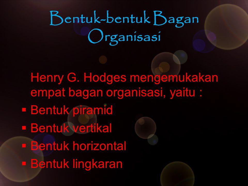 Bentuk-bentuk Bagan Organisasi Henry G. Hodges mengemukakan empat bagan organisasi, yaitu :  Bentuk piramid  Bentuk vertikal  Bentuk horizontal  B