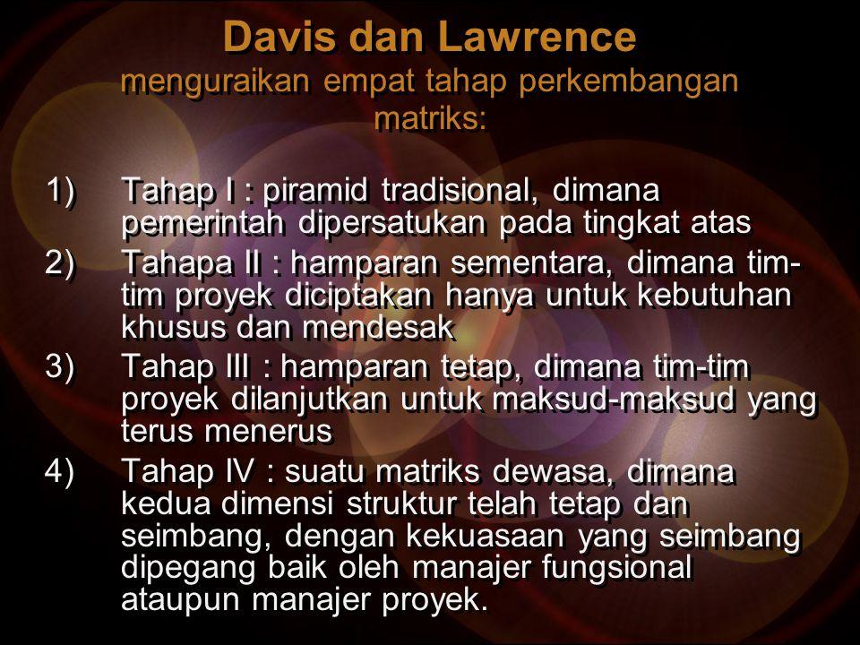 Davis dan Lawrence menguraikan empat tahap perkembangan matriks: 1)Tahap I : piramid tradisional, dimana pemerintah dipersatukan pada tingkat atas 2)T