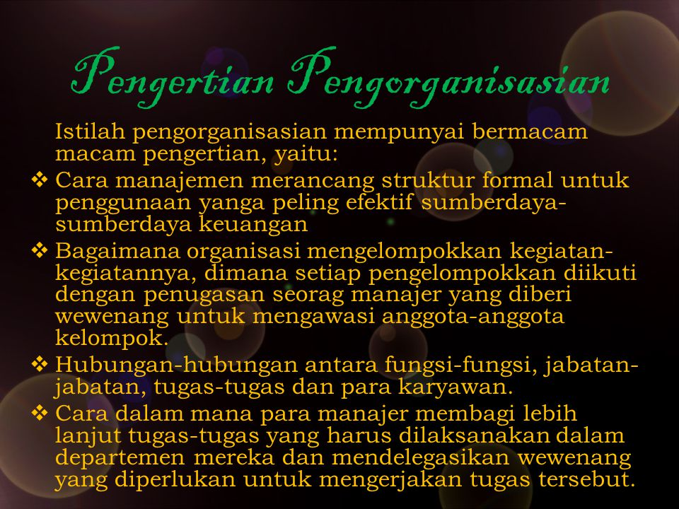 Departementalisasi Fungsional Departementalisasi fungsional mengelompokkan fungsi-fungsi yang sama atau kegiatan-kegiatan sejenis untuk membentuk suatu satuan organisasi.
