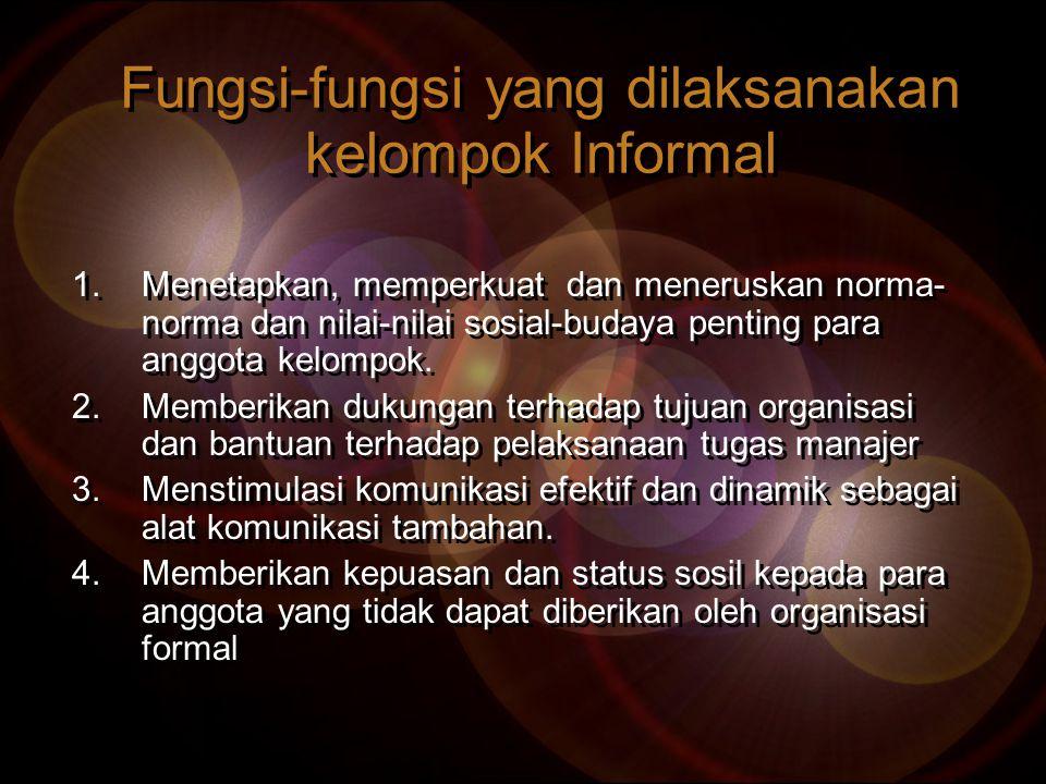 Fungsi-fungsi yang dilaksanakan kelompok Informal 1.Menetapkan, memperkuat dan meneruskan norma- norma dan nilai-nilai sosial-budaya penting para angg