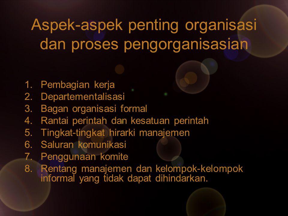 Aspek-aspek penting organisasi dan proses pengorganisasian 1.Pembagian kerja 2.Departementalisasi 3.Bagan organisasi formal 4.Rantai perintah dan kesa