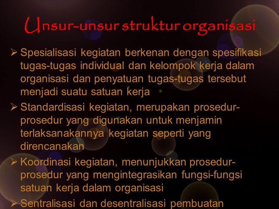 Bagan Organisasi Formal Bagan organisasi menggambarkan lima aspek utama struktur organisasi : 1.Pembagian kerja 2.Manajer dan bawahan atau rantai pemerintah 3.Tipe pekerjaan yang dilaksanakan 4.Pengelompokkan segmen-segmen pekerjaan 5.Tingkatan manajemen