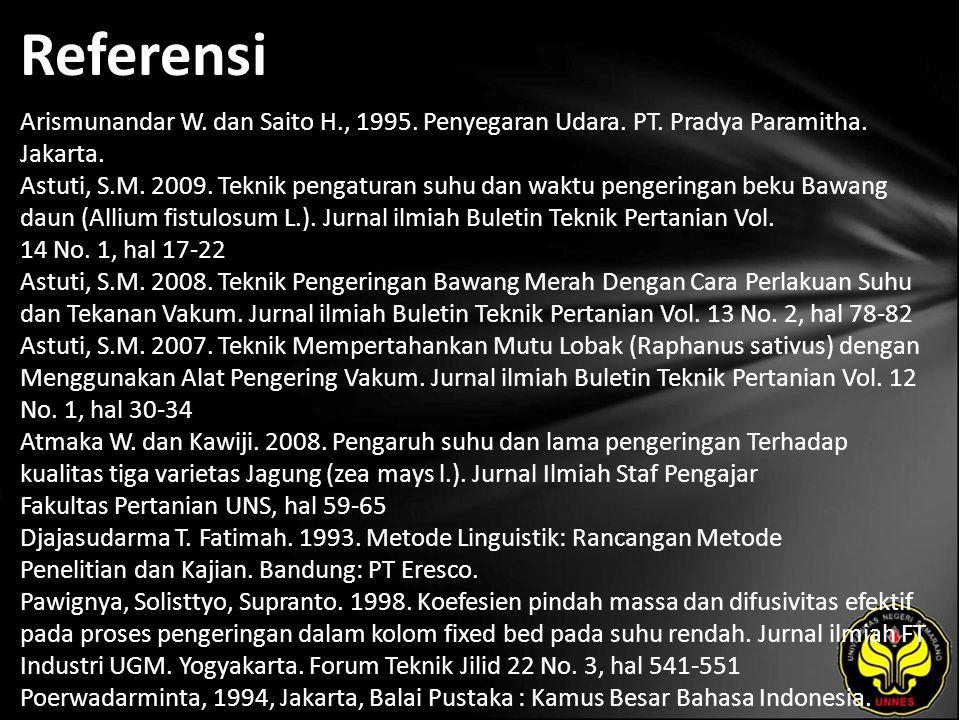Referensi Arismunandar W. dan Saito H., 1995. Penyegaran Udara. PT. Pradya Paramitha. Jakarta. Astuti, S.M. 2009. Teknik pengaturan suhu dan waktu pen