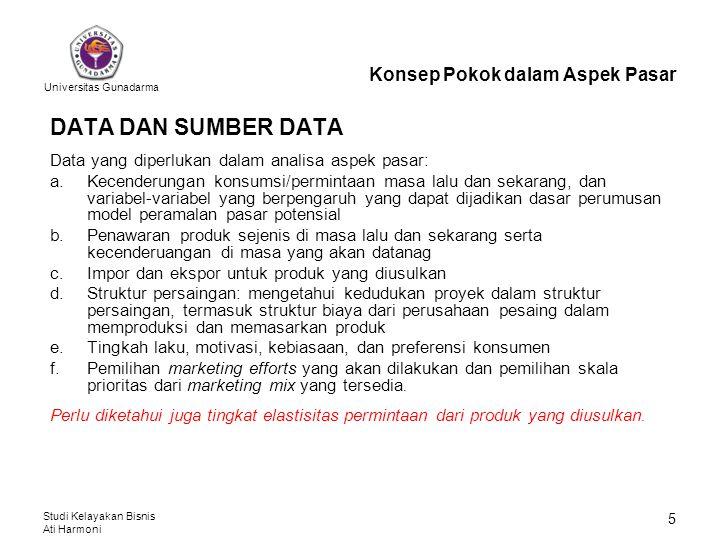 Universitas Gunadarma Studi Kelayakan Bisnis Ati Harmoni 5 DATA DAN SUMBER DATA Data yang diperlukan dalam analisa aspek pasar: a.Kecenderungan konsum