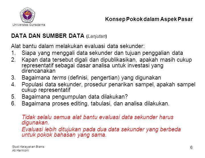 Universitas Gunadarma Studi Kelayakan Bisnis Ati Harmoni 6 DATA DAN SUMBER DATA (Lanjutan) Alat bantu dalam melakukan evaluasi data sekunder: 1.Siapa