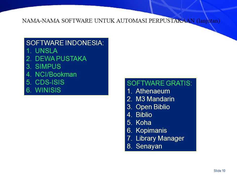 Slide 10 SOFTWARE INDONESIA: 1.UNSLA 2.DEWA PUSTAKA 3.SIMPUS 4.NCI/Bookman 5.CDS-ISIS 6.WINISIS SOFTWARE GRATIS: 1.Athenaeum 2.M3 Mandarin 3.Open Biblio 4.Biblio 5.Koha 6.Kopimanis 7.Library Manager 8.Senayan NAMA-NAMA SOFTWARE UNTUK AUTOMASI PERPUSTAKAAN (lanjutan)
