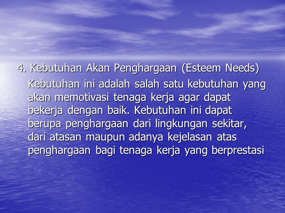 4. Kebutuhan Akan Penghargaan (Esteem Needs) Kebutuhan ini adalah salah satu kebutuhan yang akan memotivasi tenaga kerja agar dapat bekerja dengan bai