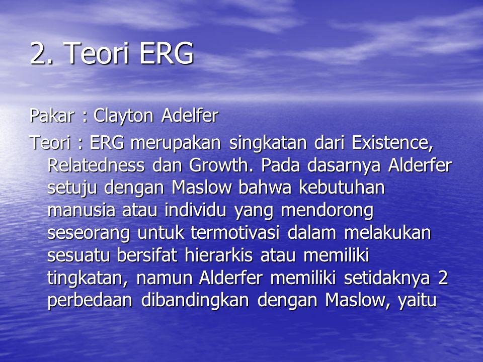 2. Teori ERG Pakar : Clayton Adelfer Teori : ERG merupakan singkatan dari Existence, Relatedness dan Growth. Pada dasarnya Alderfer setuju dengan Masl