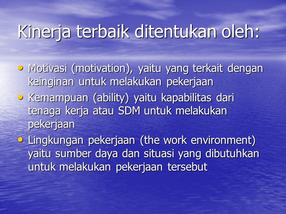 Kinerja terbaik ditentukan oleh: Motivasi (motivation), yaitu yang terkait dengan keinginan untuk melakukan pekerjaan Motivasi (motivation), yaitu yang terkait dengan keinginan untuk melakukan pekerjaan Kemampuan (ability) yaitu kapabilitas dari tenaga kerja atau SDM untuk melakukan pekerjaan Kemampuan (ability) yaitu kapabilitas dari tenaga kerja atau SDM untuk melakukan pekerjaan Lingkungan pekerjaan (the work environment) yaitu sumber daya dan situasi yang dibutuhkan untuk melakukan pekerjaan tersebut Lingkungan pekerjaan (the work environment) yaitu sumber daya dan situasi yang dibutuhkan untuk melakukan pekerjaan tersebut
