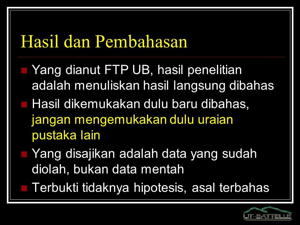 Hasil dan Pembahasan Yang dianut FTP UB, hasil penelitian adalah menuliskan hasil langsung dibahas Hasil dikemukakan dulu baru dibahas, jangan mengemu