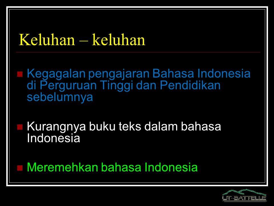 Keluhan – keluhan Kegagalan pengajaran Bahasa Indonesia di Perguruan Tinggi dan Pendidikan sebelumnya Kurangnya buku teks dalam bahasa Indonesia Merem