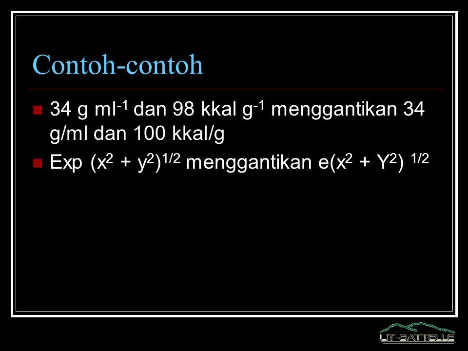 Contoh-contoh 34 g ml -1 dan 98 kkal g -1 menggantikan 34 g/ml dan 100 kkal/g Exp (x 2 + y 2 ) 1/2 menggantikan e(x 2 + Y 2 ) 1/2