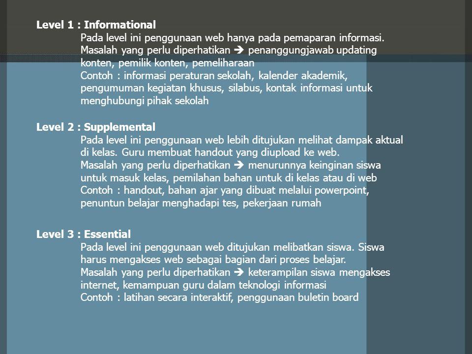 Level 5 : Immersive Pada level ini guru dan siswa berinteraksi baik secara langsung on-line maupun berinteraksi dengan pengetahuan (on-line).