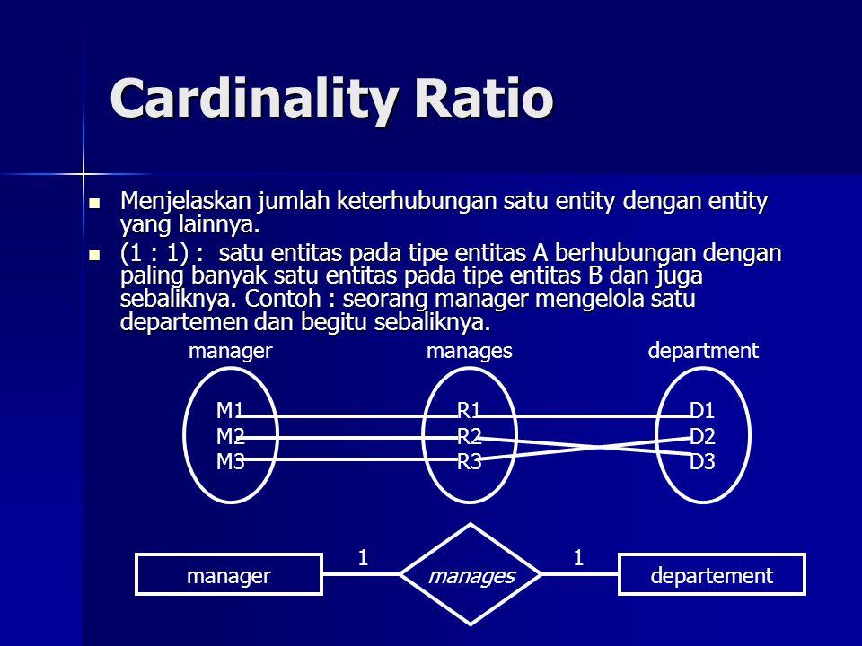 Cardinality Ratio Menjelaskan jumlah keterhubungan satu entity dengan entity yang lainnya. Menjelaskan jumlah keterhubungan satu entity dengan entity