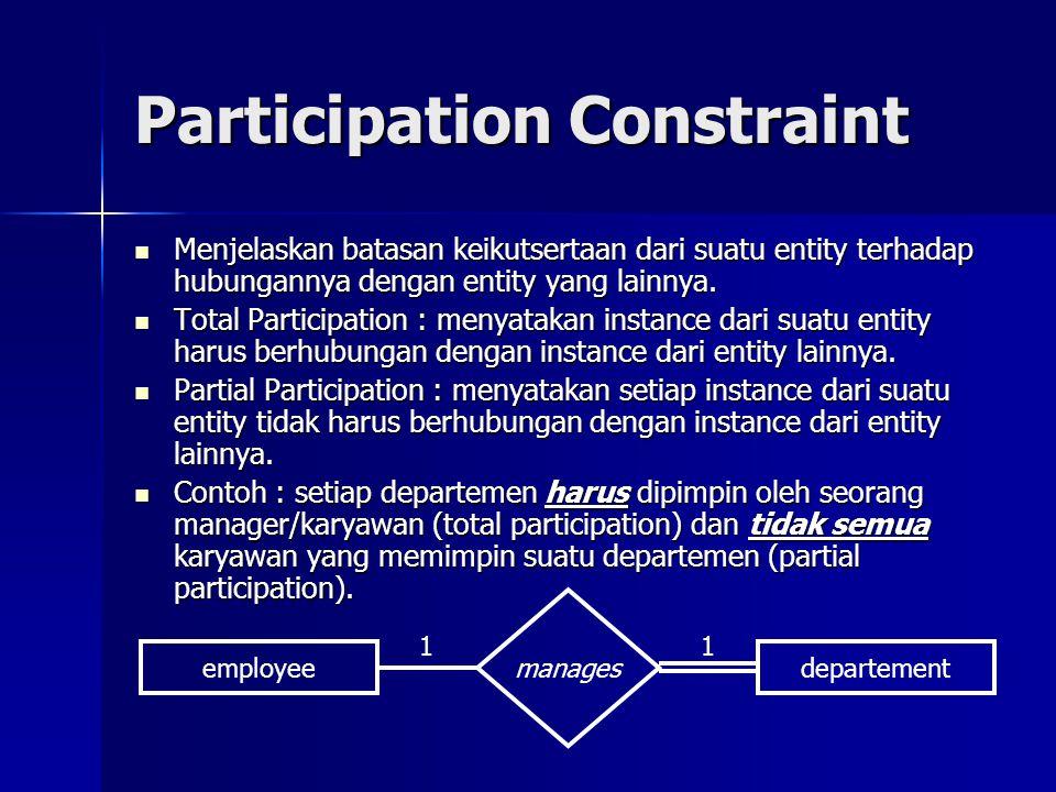 Participation Constraint Menjelaskan batasan keikutsertaan dari suatu entity terhadap hubungannya dengan entity yang lainnya. Menjelaskan batasan keik