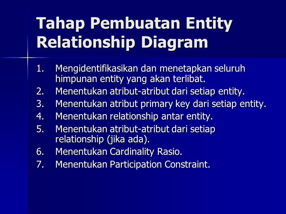 Tahap Pembuatan Entity Relationship Diagram 1.Mengidentifikasikan dan menetapkan seluruh himpunan entity yang akan terlibat. 2.Menentukan atribut-atri