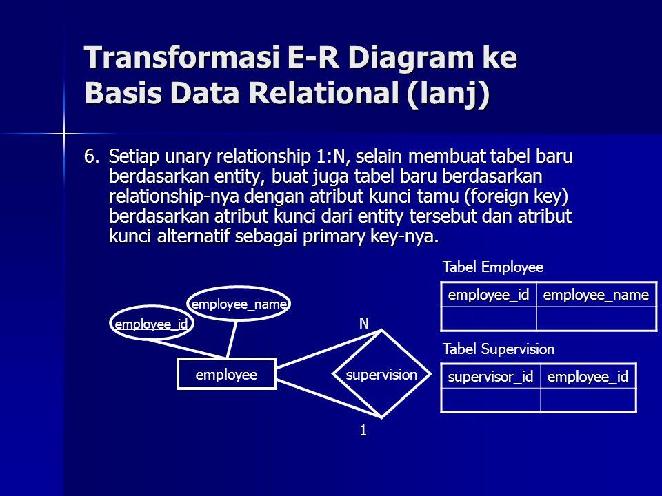 6.Setiap unary relationship 1:N, selain membuat tabel baru berdasarkan entity, buat juga tabel baru berdasarkan relationship-nya dengan atribut kunci