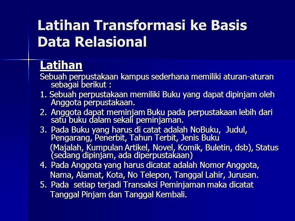 Latihan Transformasi ke Basis Data Relasional Latihan Sebuah perpustakaan kampus sederhana memiliki aturan-aturan sebagai berikut : 1. Sebuah perpusta