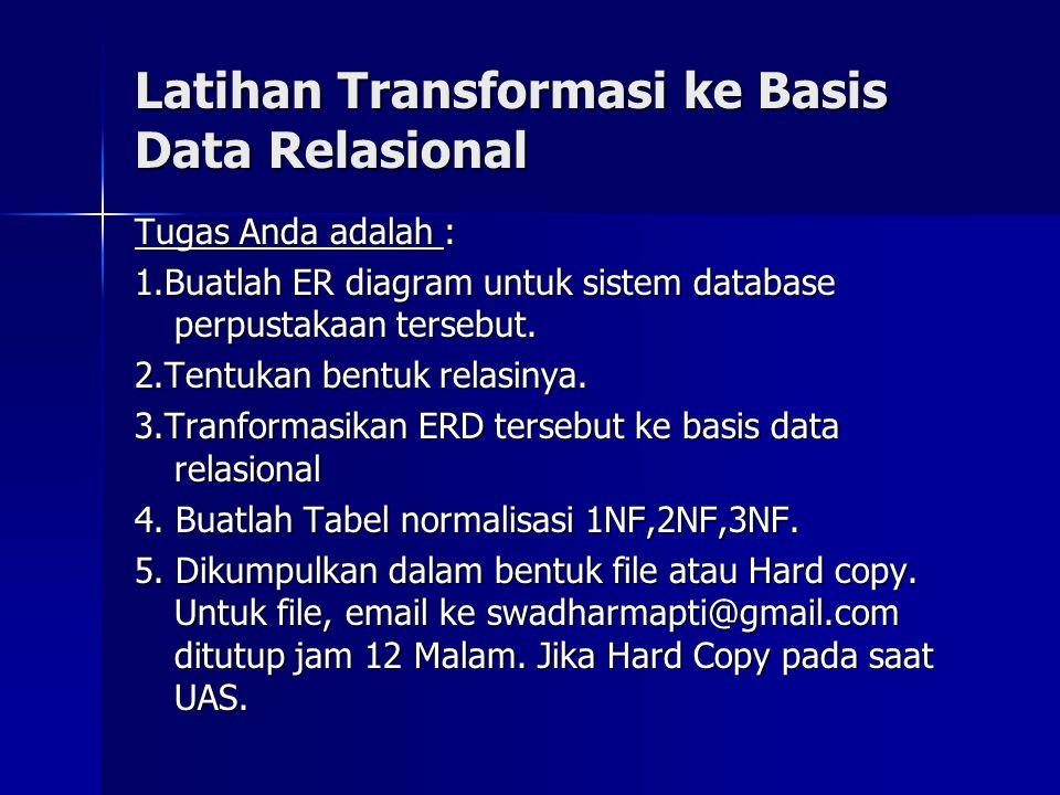 Latihan Transformasi ke Basis Data Relasional Tugas Anda adalah : 1.Buatlah ER diagram untuk sistem database perpustakaan tersebut. 2.Tentukan bentuk