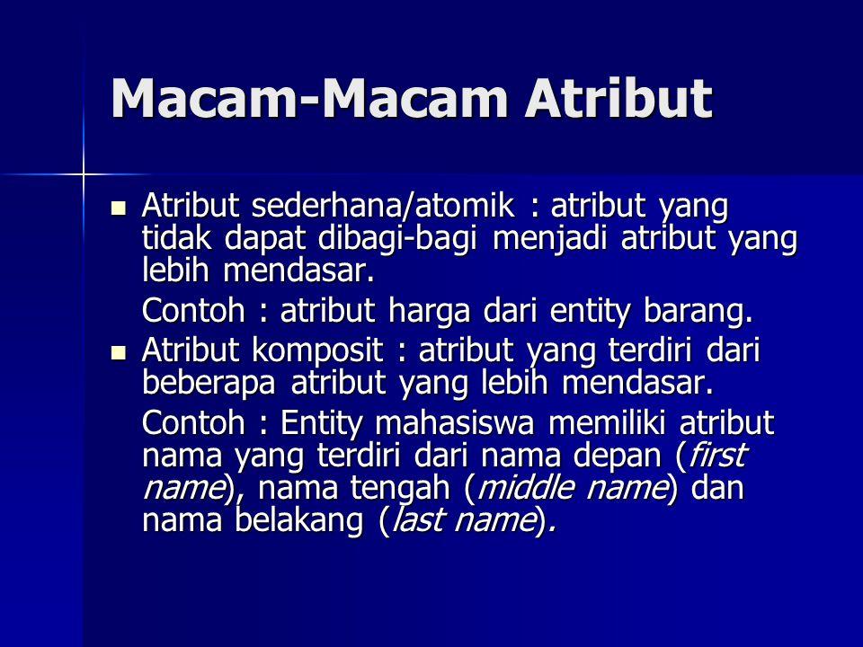Macam-Macam Atribut Atribut sederhana/atomik : atribut yang tidak dapat dibagi-bagi menjadi atribut yang lebih mendasar. Atribut sederhana/atomik : at