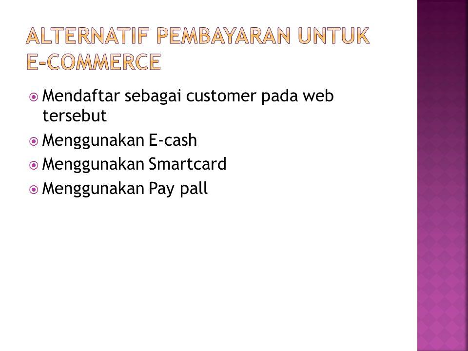  Mendaftar sebagai customer pada web tersebut  Menggunakan E-cash  Menggunakan Smartcard  Menggunakan Pay pall
