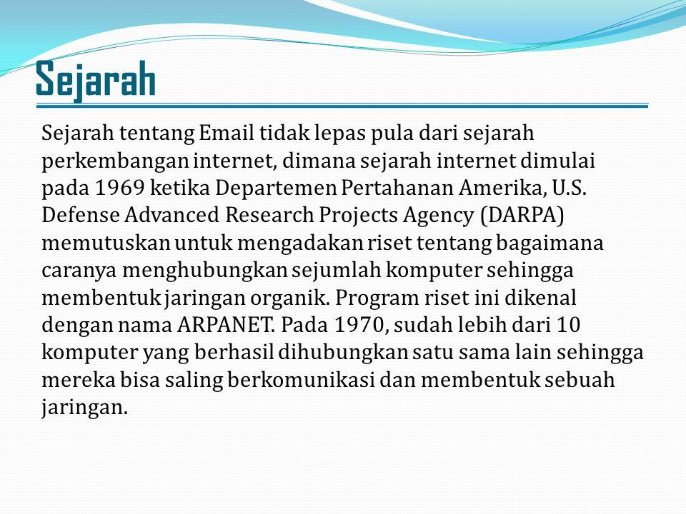 Sejarah Sejarah tentang Email tidak lepas pula dari sejarah perkembangan internet, dimana sejarah internet dimulai pada 1969 ketika Departemen Pertaha