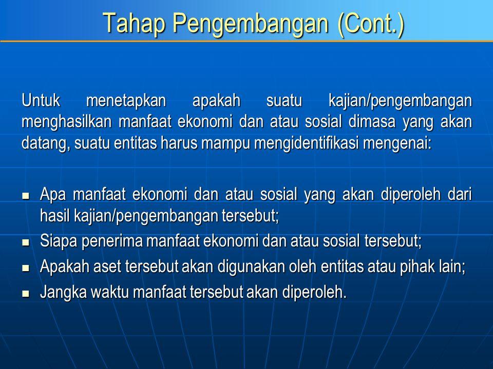 Tahap Pengembangan (Cont.) Untuk menetapkan apakah suatu kajian/pengembangan menghasilkan manfaat ekonomi dan atau sosial dimasa yang akan datang, sua