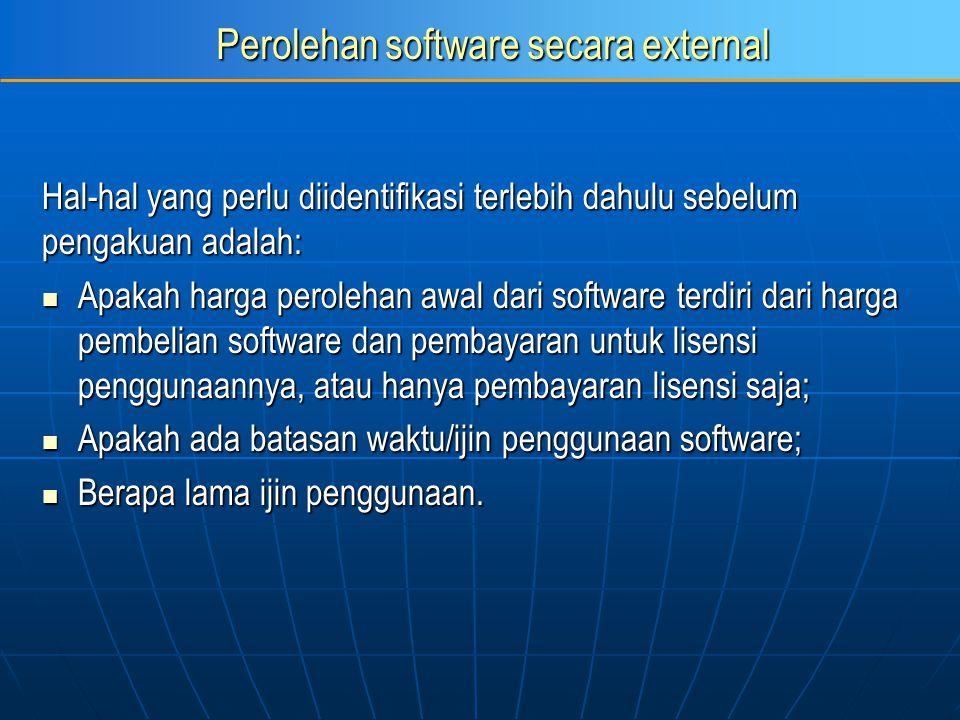 Perolehan software secara external Hal-hal yang perlu diidentifikasi terlebih dahulu sebelum pengakuan adalah: Apakah harga perolehan awal dari softwa