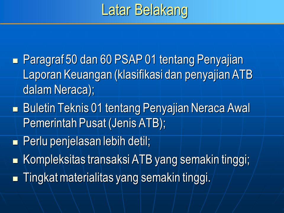 Latar Belakang Paragraf 50 dan 60 PSAP 01 tentang Penyajian Laporan Keuangan (klasifikasi dan penyajian ATB dalam Neraca); Paragraf 50 dan 60 PSAP 01