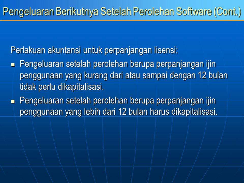 Pengeluaran Berikutnya Setelah Perolehan Software (Cont.) Perlakuan akuntansi untuk perpanjangan lisensi: Pengeluaran setelah perolehan berupa perpanj