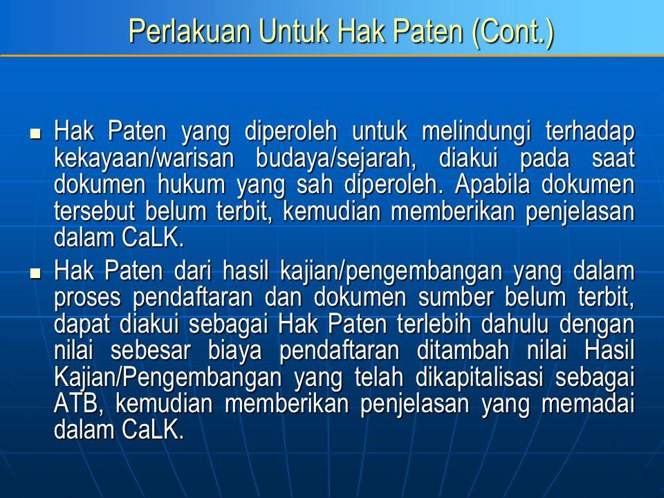 Perlakuan Untuk Hak Paten (Cont.) Hak Paten yang diperoleh untuk melindungi terhadap kekayaan/warisan budaya/sejarah, diakui pada saat dokumen hukum y