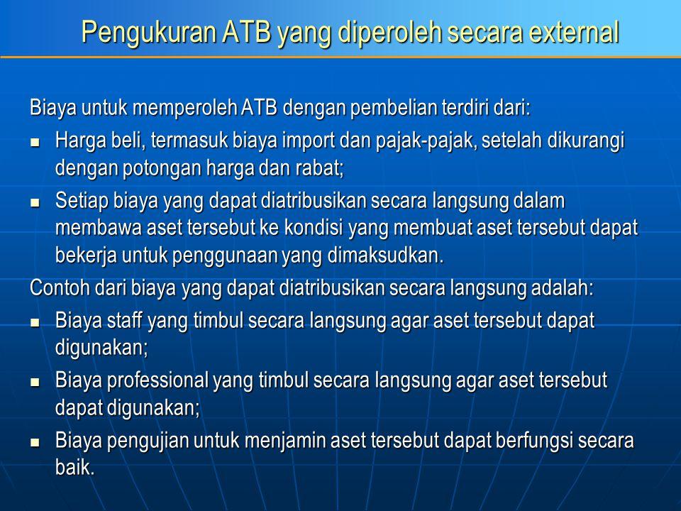 Pengukuran ATB yang diperoleh secara external Biaya untuk memperoleh ATB dengan pembelian terdiri dari: Harga beli, termasuk biaya import dan pajak-pa
