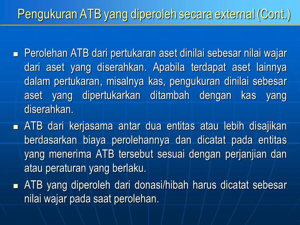 Pengukuran ATB yang diperoleh secara external (Cont.) Perolehan ATB dari pertukaran aset dinilai sebesar nilai wajar dari aset yang diserahkan. Apabil