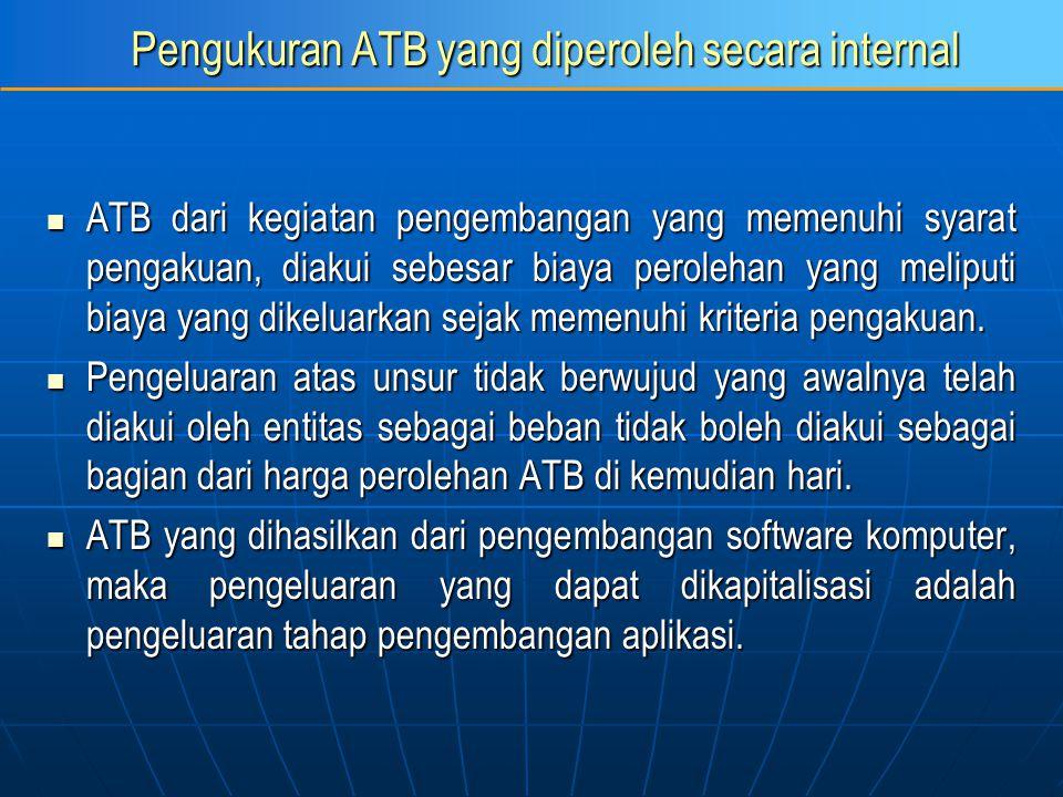 Pengukuran ATB yang diperoleh secara internal ATB dari kegiatan pengembangan yang memenuhi syarat pengakuan, diakui sebesar biaya perolehan yang melip