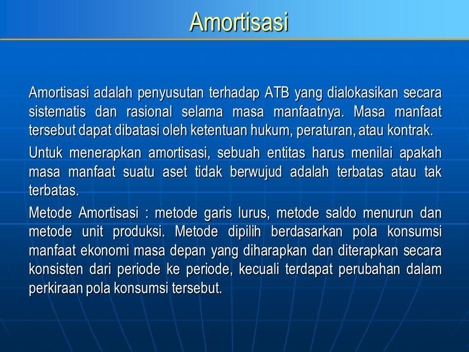 Amortisasi Amortisasi adalah penyusutan terhadap ATB yang dialokasikan secara sistematis dan rasional selama masa manfaatnya. Masa manfaat tersebut da