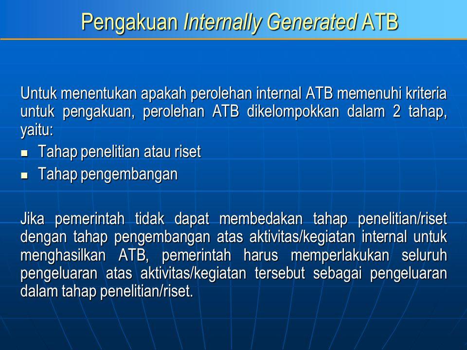 Pengakuan Internally Generated ATB Untuk menentukan apakah perolehan internal ATB memenuhi kriteria untuk pengakuan, perolehan ATB dikelompokkan dalam